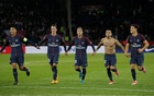 File Photo: Ligue 1 - Paris St Germain vs Olympique Lyonnais - The Parc des Princes, Paris, France - September 17, 2017. Paris Saint-Germain's Neymar celebrates with team mates after the match. Reuters