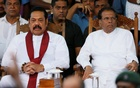 Sri Lanka's newly appointed Prime Minister Mahinda Rajapaksa and President Maithripala Sirisena look on during a rally near the parliament in Colombo, Sri Lanka November 5, 2018. Reuters