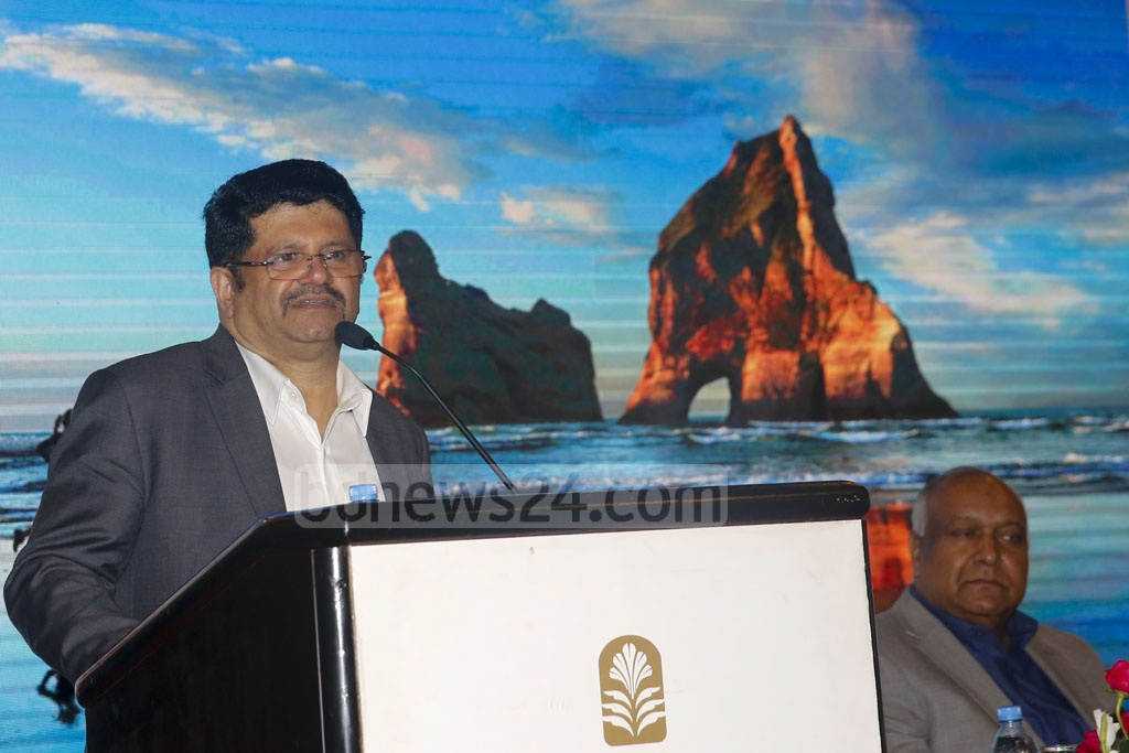 Sharjah, UAE-based Cozmo Travel's CEO Jamal Abulnazar speaking at a function in Dhaka to mark the launch of its operations in Bangladesh on Sunday. Photo: Mostafigur Rahman