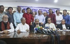 Gono Forum President Dr Kamal Hossain addressing the Jatiya Oikya Front's news conference at the National Press Club in Dhaka on Sunday. Photo: Abdullah Al Momin