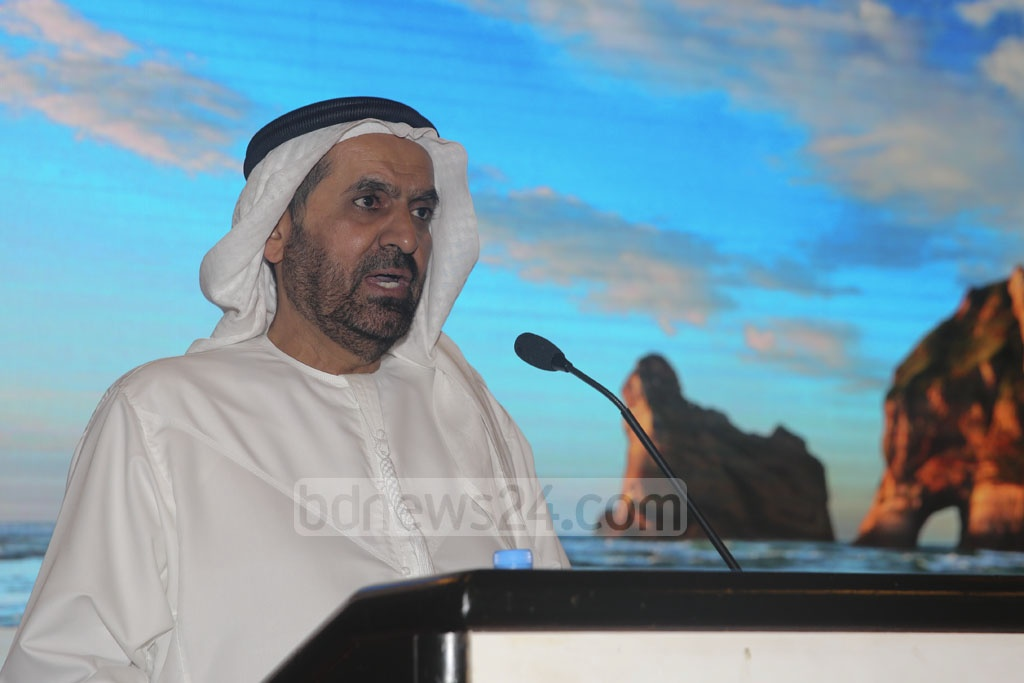 Ambassador Saed Mohammed Al Muhairi speaking at a function in Dhaka to mark the launch of operations of Sharjah, UAE-based Cozmo Travel, a sister concern of Air Arabia, in Bangladesh on Sunday. Photo: Mostafigur Rahman