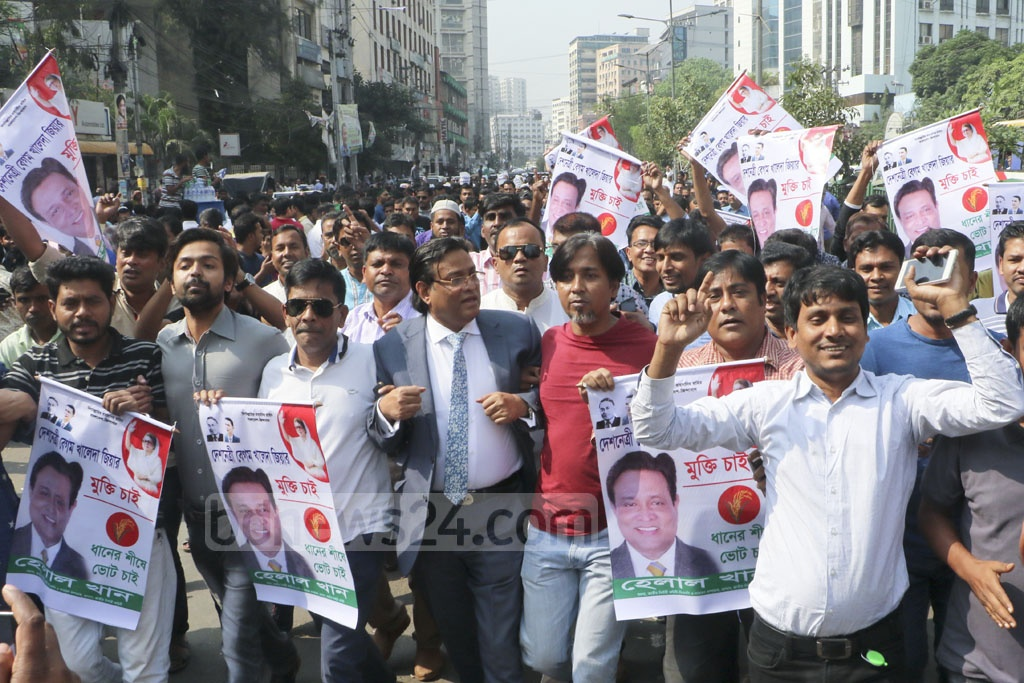 Movie actor Helal Khan and his supporters heading towards the BNP's Naya Paltan headquarters in a procession to buy a nomination form for Sylhet 6 parliamentary constituency on Monday. Photo: Abdullah Al Momin