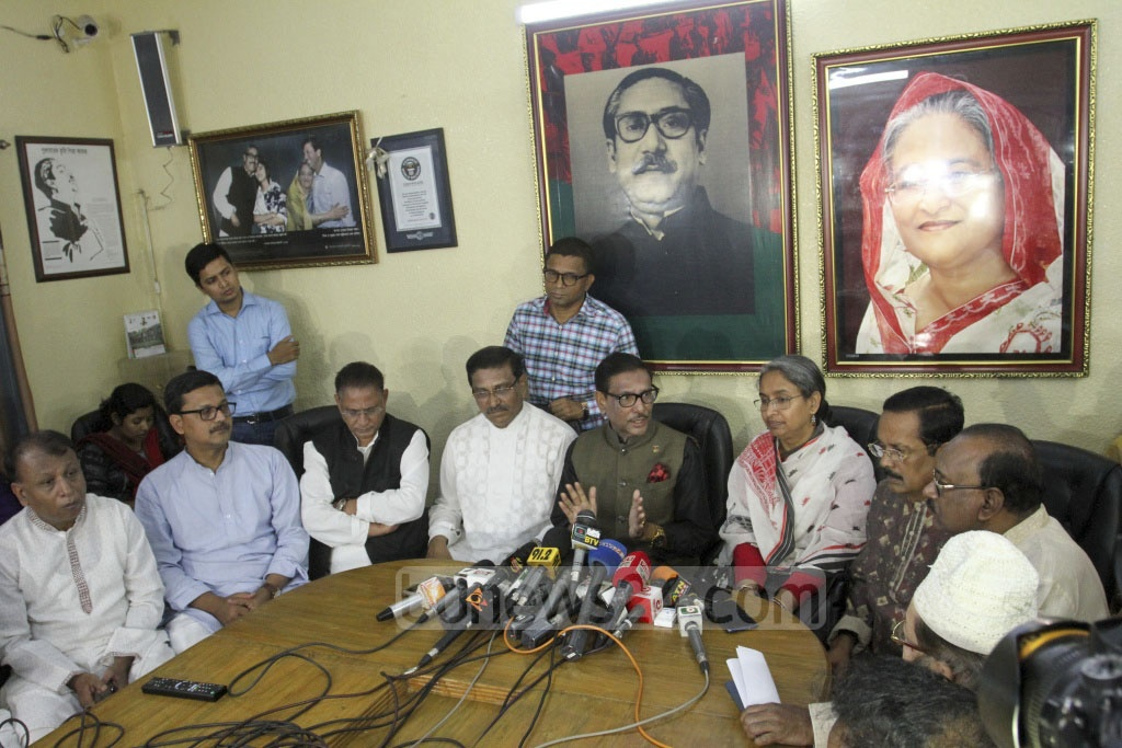 Awami League General Secretary Obaidul Quader speaks at a press conference after issuing nomination forms at the party headquarters in Dhanmondi on Monday. Photo: Asif Mahmud Ove