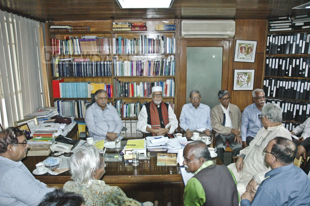 Jatiya Oikya Front leaders meeting at their chief Dr Kamal Hossain's chamber on Tuesday.
