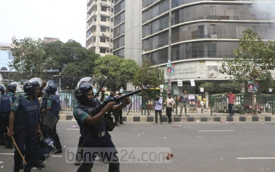Police use teargas during a clash with BNP activists in Dhaka's Naya Paltan on Wednesday. Photo: Abdullah Al Momin