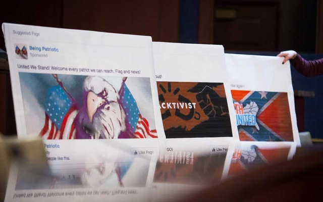Visual aids on hand as representatives of Facebook, Google and Twitter regarding online political disinformation, on Capitol Hill in Washington, Oct 31, 2017. The New York Times