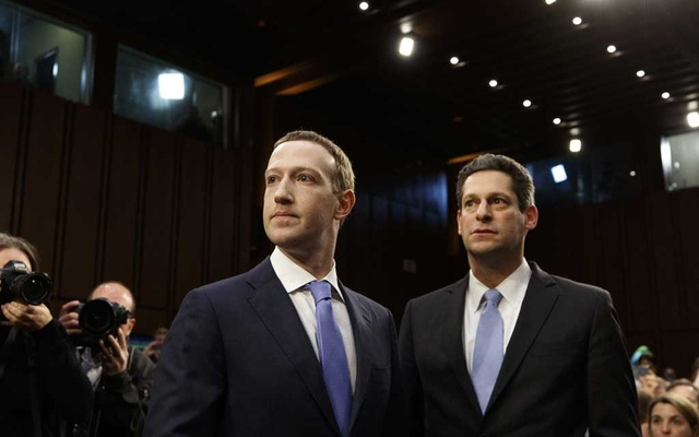 Mark Zuckerberg, Facebook's chief executive, and Joel Kaplan, its Vice President of global public policy, arrive to testify on Capitol Hill in Washington, Apr 10, 2018. The New York Times