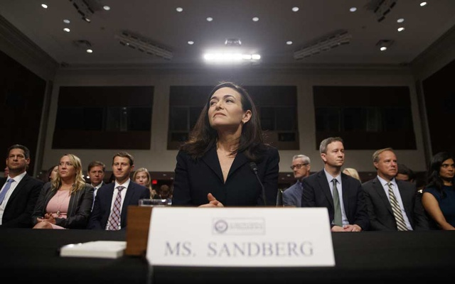 Sheryl Sandberg, Facebook's chief operating officer, testifies on Capitol Hill in Washington, Sep 5, 2018. The New York Times