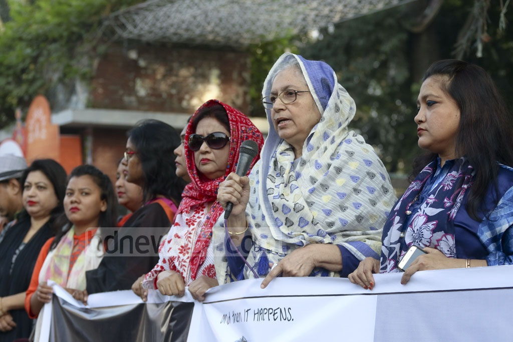 Women working in different sectors in Bangladesh, including the media, demonstrate in front of the National Press Club in Dhaka on Friday to express solidarity with women revealing sexual harassment incidents, especially at workplace, on the social media as part of the global #MeToo movement.