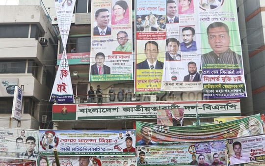 The BNP headquarters at Naya Paltan in Dhaka was covered by posters, banners and festoons of nominees for its ticket on Sunday afternoon. Photo: Abdullah Al Momin
