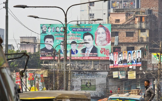A billboard of the Awami League hung at Naya Bazar in Old Dhaka ahead of the election was pictured on Sunday.
