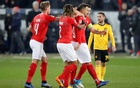 Haris hat-trick helps Swiss reach semis after extraordinary comeback against Belgium