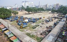 Trucks and others vehicles parked on the Dhupkhola ground in Old Dhaka on Tuesday. Photo: Abdullah Al Momin