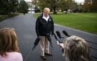 President Donald Trump speaks to reporters outside the White House before leaving Washington to survey the wildfire damage in California, Nov 17, 2018. The New York Times