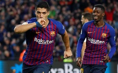File Photo: Barcelona's Luis Suarez celebrates scoring their third goal with Ousmane Dembele. La Liga Santander - FC Barcelona v Real Madrid - Camp Nou, Barcelona, Spain - October 28, 2018. Reuters