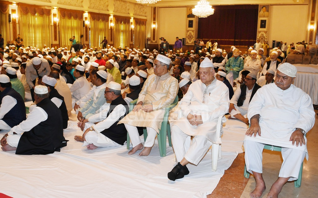 Jatiya Oikya Front chief Dr Kamal Hossain attending a special prayer programme at the Bangabhaban on Eid-e-Miladunnabi on Wednesday.
