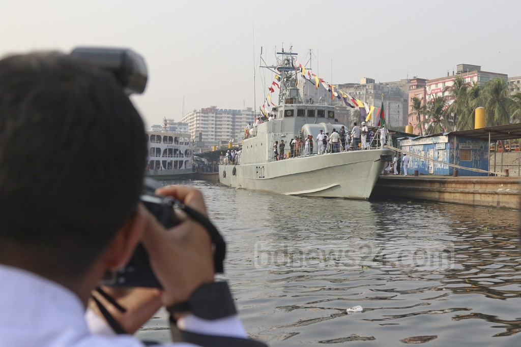 Navy ship BNS Jamuna docked at Sadarghat Launch Terminal in Dhaka on Armed Forces Day on Wednesday. Photo: Abdullah Al Momin