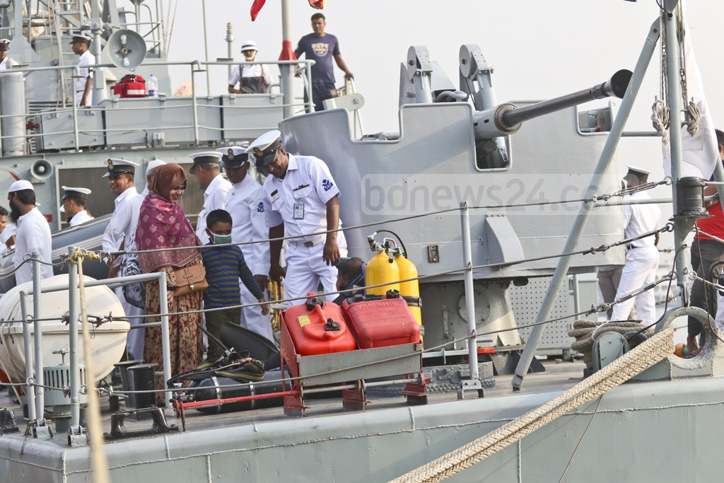 Visitors were allowed on the navy ship BNS Jamuna docked at Sadarghat Launch Terminal in Dhaka on Armed Forces Day on Wednesday. Photo: Abdullah Al Momin