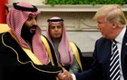 US President Trump shakes hands with Saudi Arabia's Crown Prince Mohammed bin Salman in the Oval Office at the White House in Washington. REUTERS