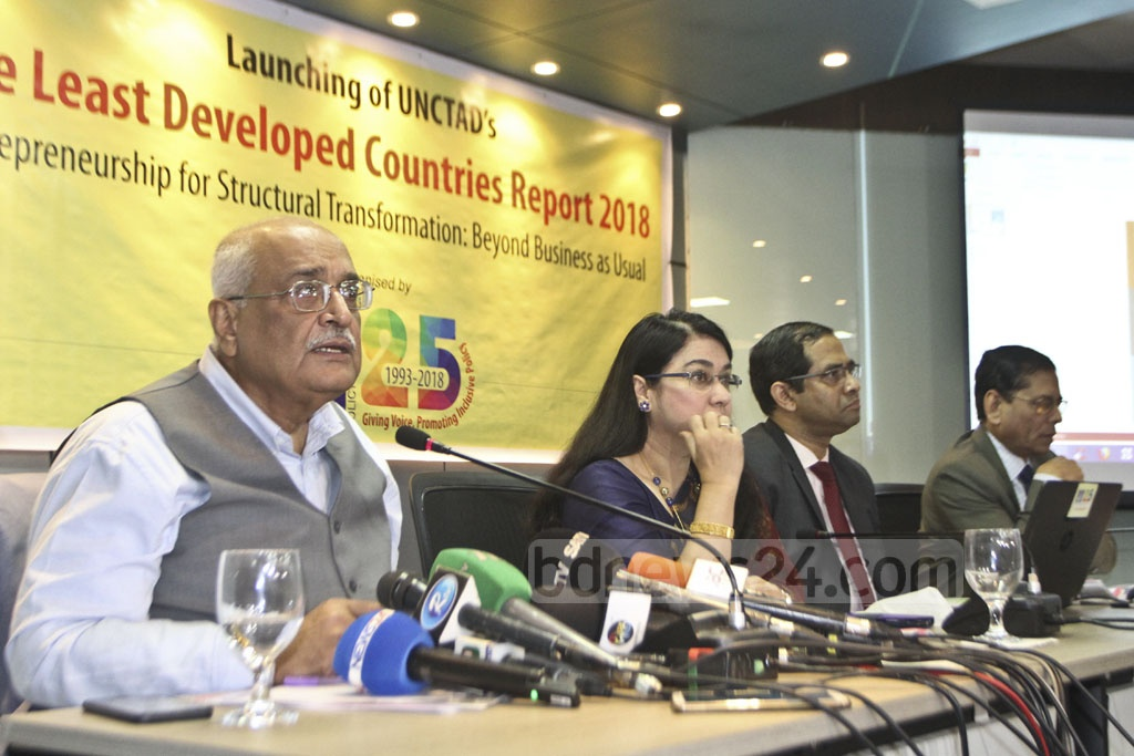 Dr Debapriya Bhattacharya, former executive director of CPD, speaking at a press conference on Least Developed Countries or LDCs report at the capital's BRAC Centre on Thursday.