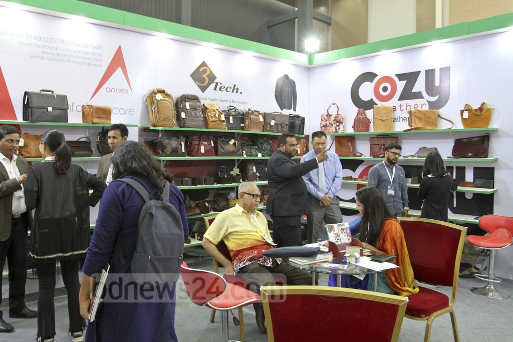 Visitors at a display of 'Bangladesh Leather Footwear and Leather Goods International Sourcing Show -2018' in Dhaka on Thursday. Photo: Asif Mahmud Ove