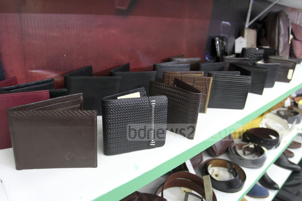 Leather-made goods displayed in the 'Bangladesh Leather Footwear and Leather Goods International Sourcing Show' in Dhaka on Thursday. Photo: Asif Mahmud Ove