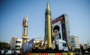 File Photo: A display featuring missiles and a portrait of Iran's Supreme Leader Ayatollah Ali Khamenei is seen at Baharestan Square in Tehran, Iran Sep 27, 2017. REUTERS.