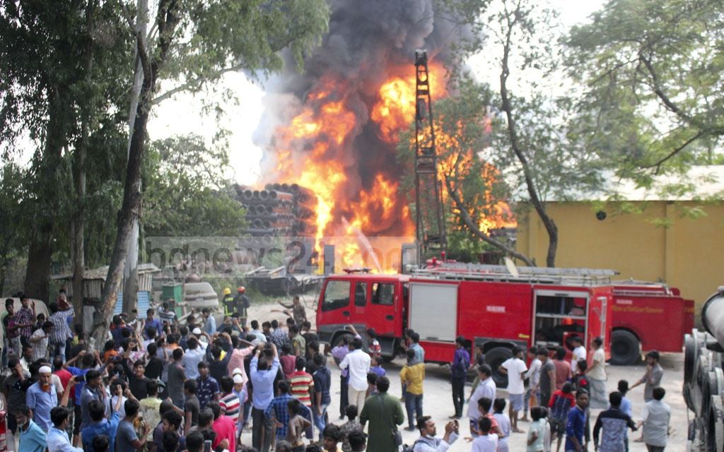 The Fire Service crew brought under control a fire that broke out at the BIWTA warehouse in Narayanganj after around five and a half hours of effort on Friday afternoon. The fire has caused damage worth Tk 150 million, according to officials.