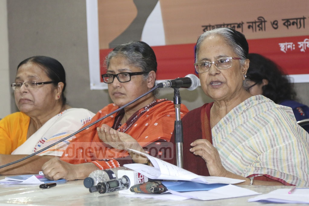 Bangladesh Mahila Parishad President Ayesha Khanam speaking at a press conference in its Dhaka office on Sunday marking International Day for the Elimination of Violence against Women and Human Rights Day. Photo: Abdullah Al Momin