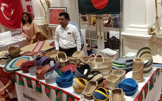 Jute products are on display in Bangladesh stall in Colombo.