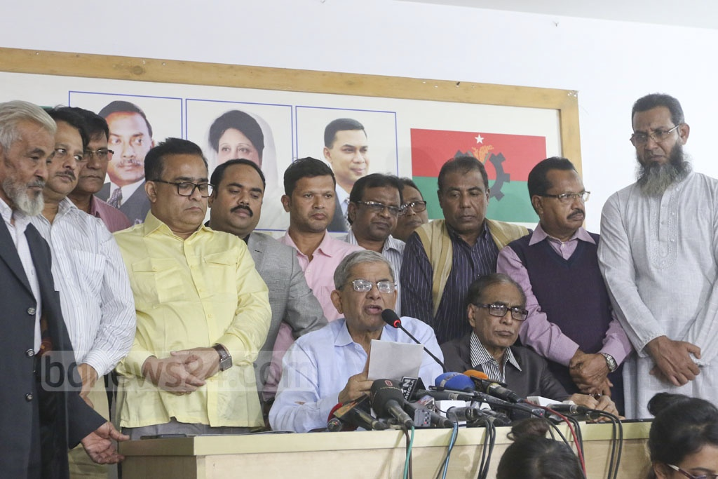 BNP Secretary General Mirza Fakhrul Islam Alamgir speaks at a press conference at the BNP chairperson's offices in Gulshan on Monday. He began distributing letters to the paddy-sheaf candidates for the general election afterwards. Photo: Abdullah Al Momin