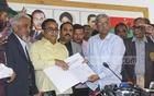 BNP Secretary General Mirza Fakhrul Islam Alamgir hands the BNP candidacy confirmation letter for imprisoned party chief Khaleda Zia to an election official on Monday. Khaleda aspires to compete in the election from Feni-1, Bagura-6 and Bagura-7 constituencies. Photo: Abdullah Al Momin