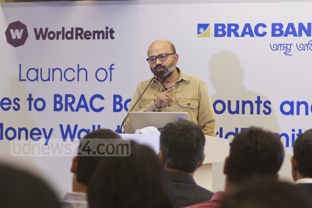 bKash CEO Kamal Quadir speaking at a news conference marking the partnership between the mobile phone financial service provider, BRAC Bank and London-based WorldRemit in Dhaka on Tuesday. The partnership allows customers to receive remittances digitally directly into their BRAC Bank accounts, as cash over the counter at the bank branches and agent points, and into their bKash mobile wallets. Photo: Abdullah Al Momin