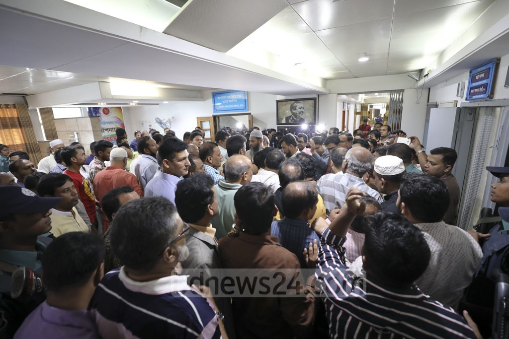 Supporters accompanying candidates for different parliamentary constituencies crowded the returning officer's office in Dhaka on Tuesday.