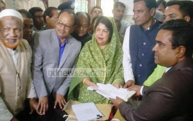 File Photo: Shirin Sharmin Chaudhury submitting nomination papers in Rangpur on Nov 27.
