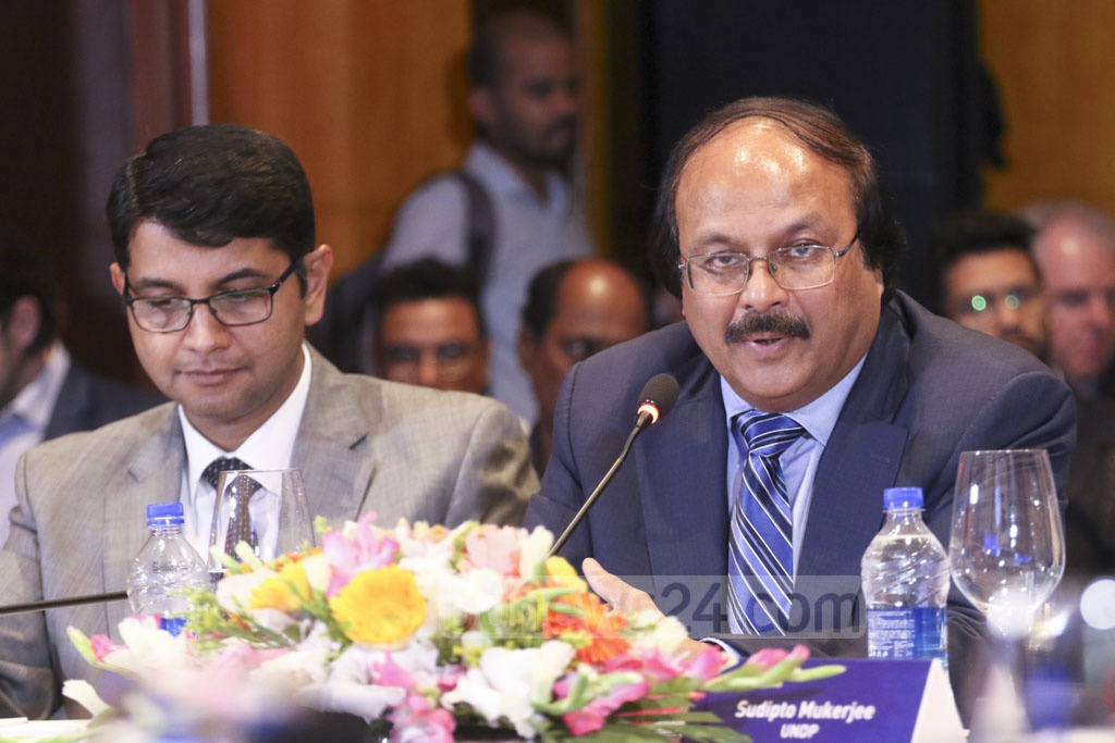 Md Nojibur Rahman, the principal secretary to the prime minister, speaking at a roundtable organised by Unilever and UNDP at a Dhaka hotel Thursday on the Sustainable Development Goal on water and sanitation. Photo: Abdullah Al Momin