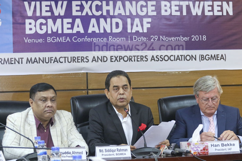 BGMEA President Siddiqur Rahman speaking at a media briefing in Dhaka on Thursday on at the end of International Apparel Federation President Han Bekke's two-day Bangladesh tour. Photo: Abdullah Al Momin