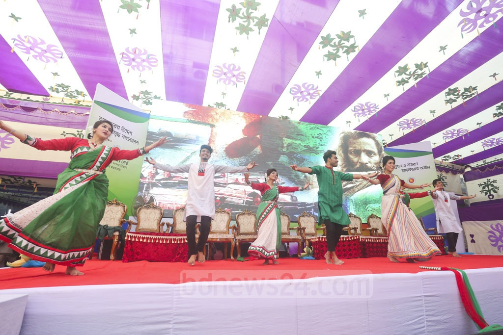 A dance sequence is being performed during an event organised by the National Board of Revenue to commemorate the Income Tax Day on Friday.