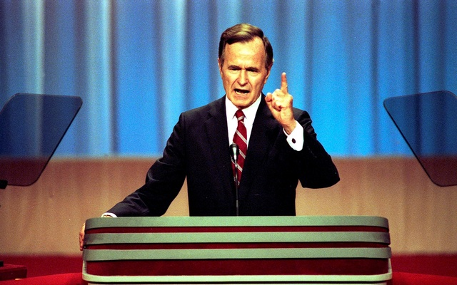 FILE PHOTO: Vice President George HW Bush gives his acceptance speech at the Republican National Convention in New Orleans, Louisiana in this Aug 18, 1988 handout photo obtained by Reuters Nov 30, 2012. George Bush Presidential Library and Museum/Handout via REUTERS/File Photo