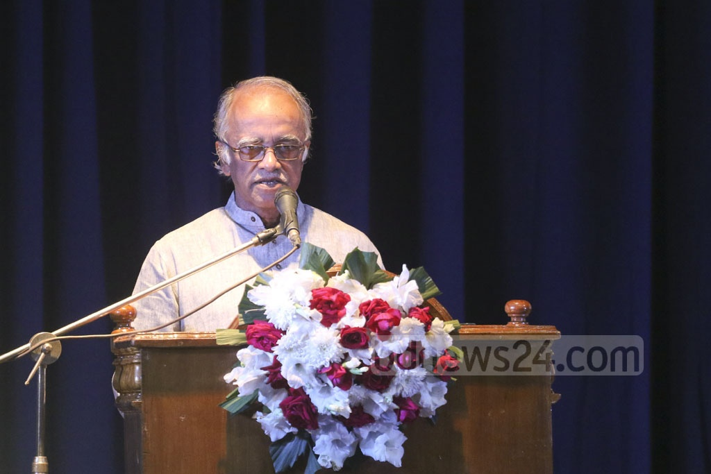 Mofidul Hoque, a trustee of the Liberation War Museum, speaking at an event marking the 63rd founding anniversary of the Bangla Academy in Dhaka on Monday. Photo: Abdullah Al Momin