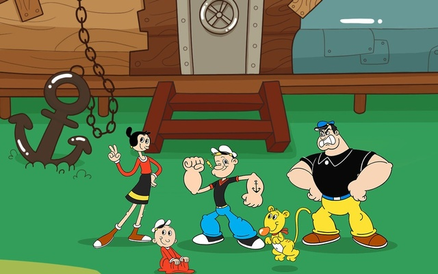 In the new series, Popeye is a more youthful fellow and a clean-shaven Bluto is more interested in stealing Popeye's spinach than he is the heart of Olive Oyl. King Feature Syndicate, Inc. via The New York Times