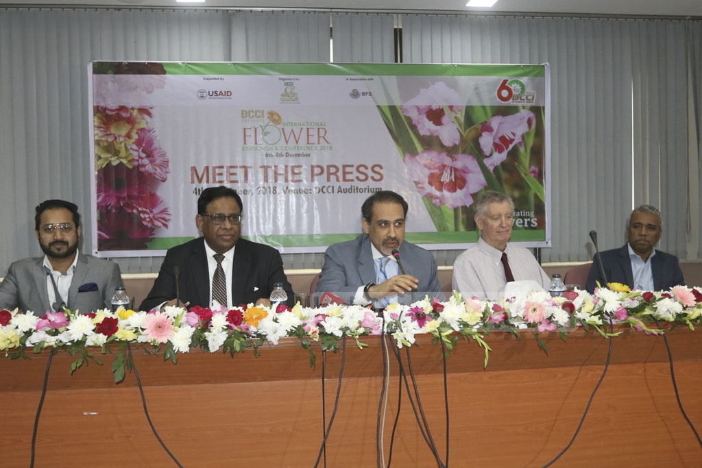 Dhaka Chamber of Commerce and Industry President Abul Kasem Khan briefing the media at the DCCI Auditorium in Dhaka's Motijheel on Tuesday about the three-day International Flower Exhibition and Conference 2018 to be held at the Bangabandhu International Conference Centre from Thursday. Photo: Abdullah Al Momin