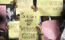 Students carrying placards during the second day of demonstration in front of the main branch of Viqarunnisa Noon School and College on Dhaka's Bailey Road on Wednesday against the death of a peer, Aritry Adhikary. Photo: Asif Mahmud Ove