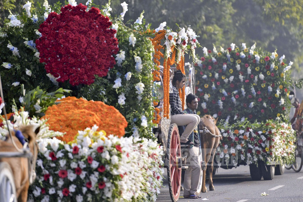 A 'flower parade' is held in Dhaka on Friday in honour of the International Flower Exhibition and Conference 2018.