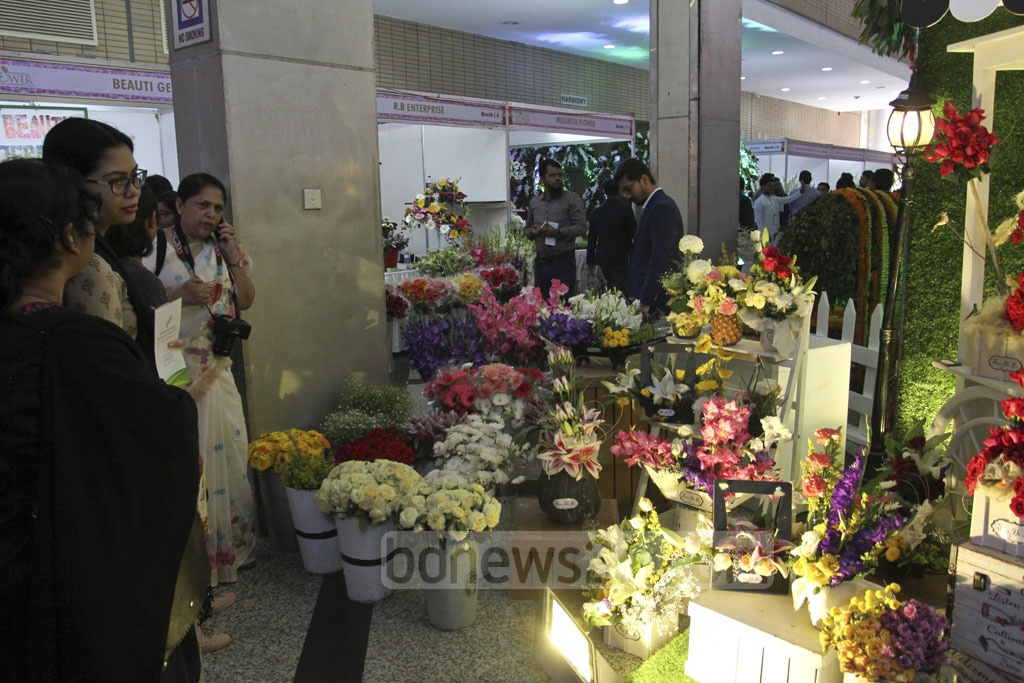 Guests visit the International Flower Exhibition and Conference 2018 at the Bangabandhu International Conference Centre on Friday. Photo: Asif Mahmud Ove