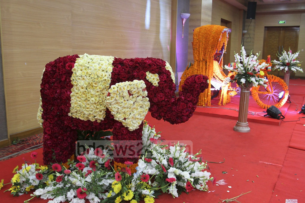 An elephant made of flowers is displayed at the International Flower Exhibition and Conference 2018 at the Bangabandhu International Conference Centre on Friday. Photo: Asif Mahmud Ove