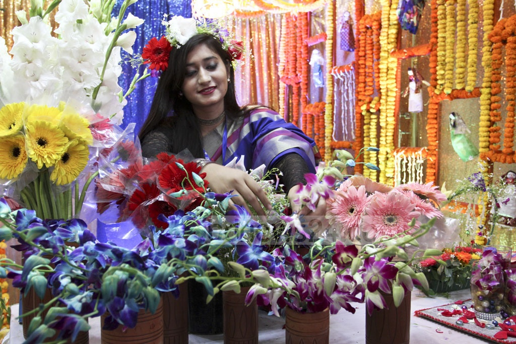 A stall at the International Flower Exhibition and Conference 2018 at the Bangabandhu International Conference Centre on Friday. Photo: Asif Mahmud Ove