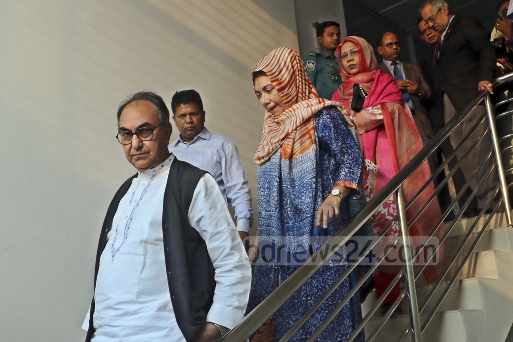 BNP leader Mirza Abbas and his wife Afroza Abbas leaving the Election Commission in Dhaka on Friday after it deferred hearing of her appeal against the rejection of her nomination.