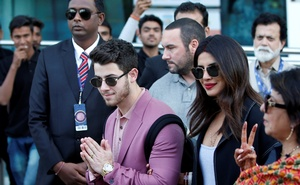 Actress Priyanka Chopra and her husband Nick Jonas arrive in Udaipur to attend pre-wedding celebrations of Isha Ambani, daughter of the Chairman of Reliance Industries Mukesh Ambani, in the desert state of Rajasthan, India, December 8, 2018. Reuters