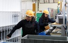 Filipina Gladys Gayeta, 22, a trainee at Starlite Co. car parts factory, works with her fellow trainee worker in Akitakata, Hiroshima prefecture, western Japan November 28, 2018. Reuters